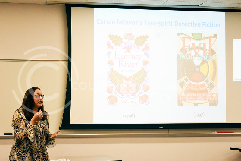 Lisa Tatonetti, English professor, gives a lecture about Carole LaFavor's Indigenous Erotics: Indigenous Feminism and HIV Activism in the 1980s and 1990s. The lecture was held at Bluemont Hall on Feb. 21,2018.