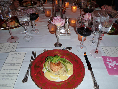 Entree' course: Roulade of Wild Salmon with Fresh Spring Herbs over Course-Ground Mustard Mashers, a Knot of Chinese Long Beans, and Ginger Hollandaise