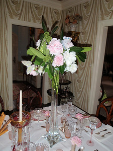Beautiful peonies and roses decorated the table setting
