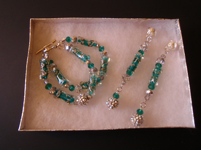 Turquoise/silver double strand bracelet and earrings created by my friend Betty Hardiman.
