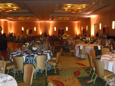 Ballroom at the Marriott before the party begins.