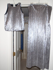 Gown under construction - lined top and skirt to be joined then cinched at waist.