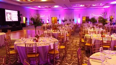 Ballroom illuminated in pink lights