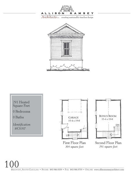 This plan is a 1 -car garage at 304 Square Feet with a bonus room above at 291 Heated Square Feet. Carolina Inspirations Book I, Page 100, C0207.