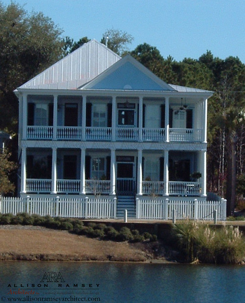 The East Lake Plan by Allison Ramsey Architects built at I'ON in Mount Pleasant, South Carolina. This plan is 3837 Heated Square Feet, 4 Bedrooms and 4 1/2 Barthrooms. Carolina Inspirations Book I, page 32, C0232.