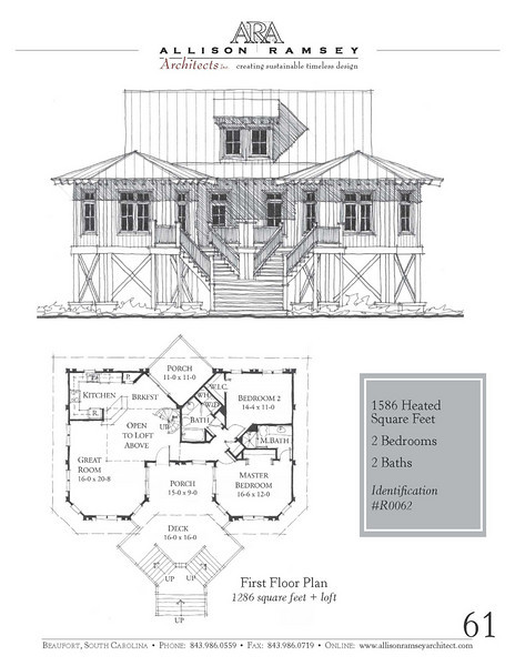 This plan is 1586 Heated Square Feet, 2 Bedrooms & 2 Bathrooms. Carolina Inspirations Book I, Page 61, R0062.