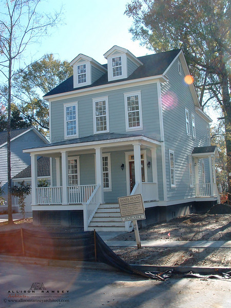 The Drayton Plan by Allison Ramsey Architects built on Daniel Island in Charleston, South Carolina. This plan is 2025 Heated Square Feet, 3 Bedrooms and 2 1/2 Bathrooms. Carolina Inspirations Book I, Page 10, C0227.
