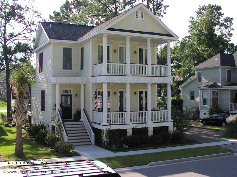 The Fleming Plan by Allison Ramsey Architects built at Wright's Point in Beaufort, South Carolina. This plan is 1820 Heated Square Feet, 4 Bedrooms and 3 Bathrooms. Carolina Inspirations, Book I, Page 51, C0072.