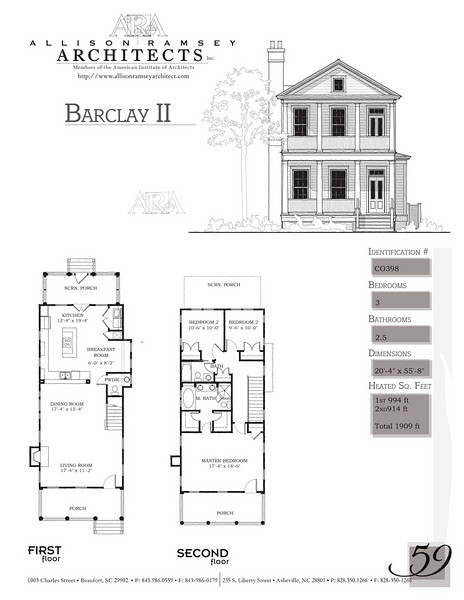 This plan is 1909 Heated Square Feet, 3 Bedrooms and 2 1/2 Bathrooms. Carolina Inspirations, Book II, Page 59, C0398.