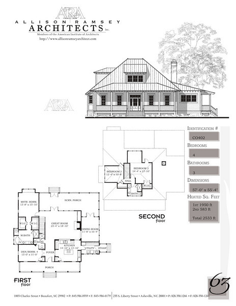 This plan is 2533 Heated Square Feet, 4 Bedrooms and 3 Bathrooms. Carolina Inspirations, Book II, Page 63, C0402.