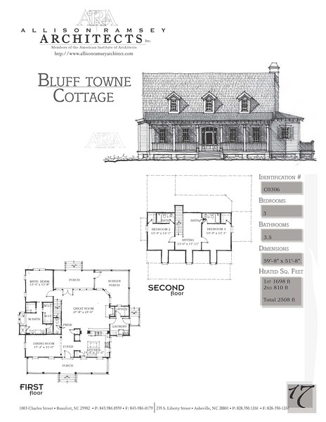 This plan is 2508 Heated Square Feet, 3 Bedrooms & 3 1/2 Bathrooms. Carolina Inspirations Book II, Page 17, C0306.