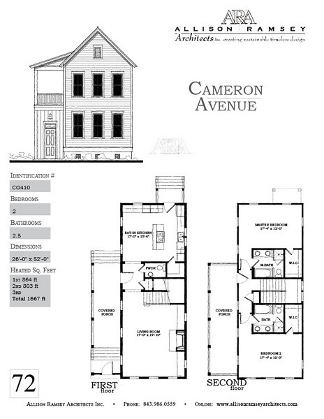 The Cameron Avenue Plan by Allison Ramsey Architects is 1667 Heated Square Feet, 2 Bedrooms and 2.5 Bathrooms. Carolina Inspirations, Book II, Page 72, C0410.