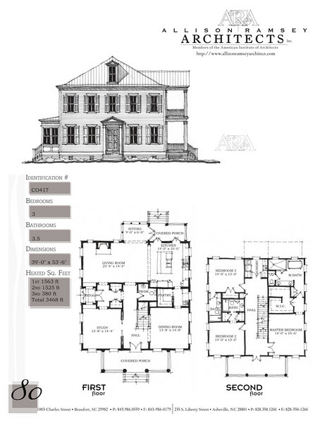 This plan is 3468 Heated Square Feet, 3 Bedrooms and 3 1/2 Bathrooms. Carolina Inspirations, Book II, Page 80, C0417.