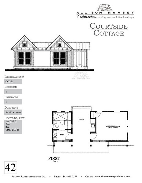 The Courtside Cottage Plan is 357 Heated Square Feet, 1 Bedrooms and 1 Bathroom. Carolina Inspirations, Book II, Page 42, C0381.