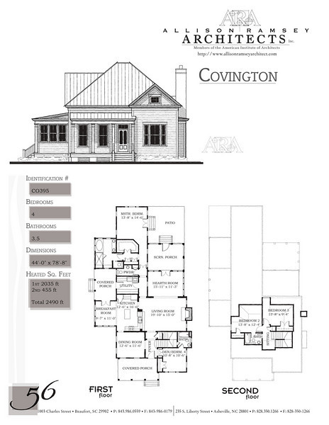 This plan is 2490 Heated Square Feet, 4 Bedrooms and 3 1/2 Bathrooms. Carolina Inspirations, Book II, Page 56, C0395.