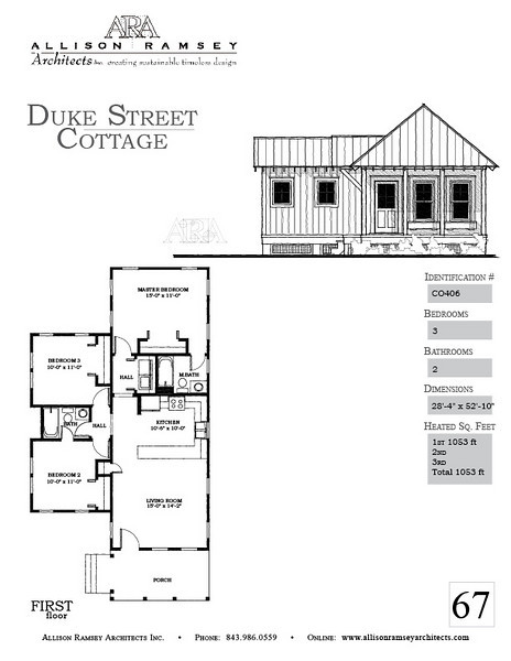 The Duke Street Cottage Plan by Allison Ramsey Architects is 1053 Heated Square Feet, 3 Bedrooms and 2 Bathrooms. Carolina Inspirations, Book II, Page 67, C0406.