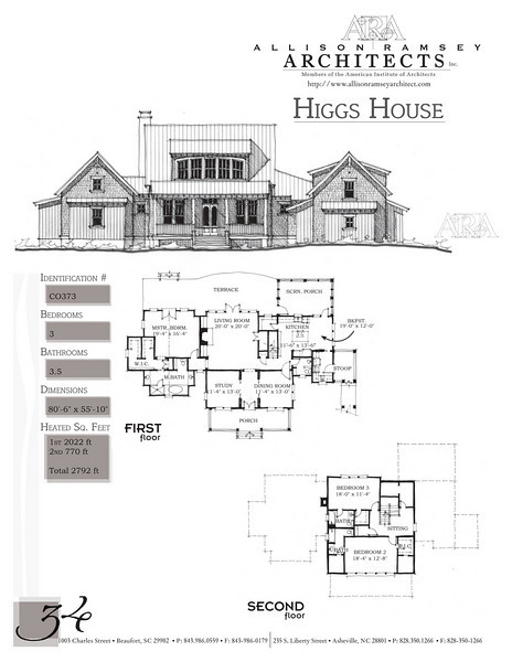 This plan is 2792 Heated Square Feet, 3 Bedrooms & 3 1/2 Bathrooms. Carolina Inspirations Book II, Page 34, C0373.
