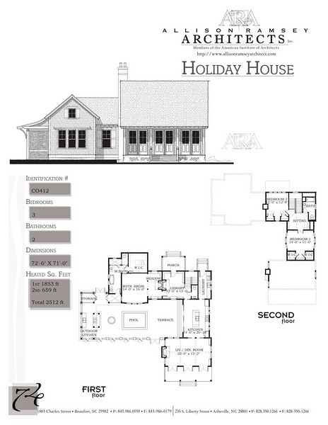 This plan is 2512 Heated Square Feet, 3 Bedrooms and 2 Bathrooms. Carolina Inspirations, Book II, Page 74, C0412.