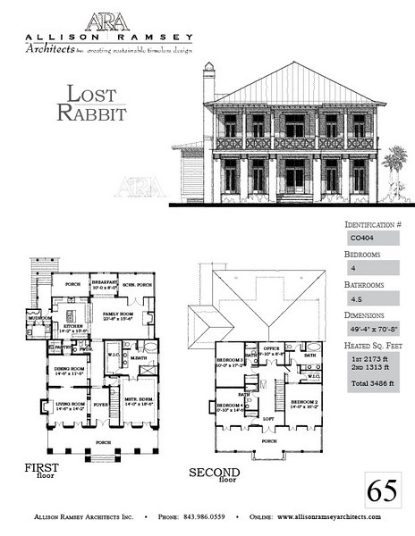 This plan is 3486 Heated Square Feet, 4 Bedrooms and 4 1/2 Bathrooms. Carolina Inspirations, Book II, Page 65, C0404.