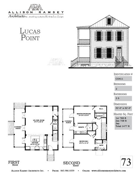 The Lucas Point Plan by Allison Ramsey Architects is 1477 Heated Square Feet, 2 Bedrooms and 2.5 Bathrooms. Carolina Inspirations, Book II, Page 73, C0411.