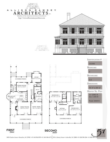 This plan is 3268 Heated Square Feet, 3 Bedrooms and 3 1/2 Bathrooms. Carolina Inspirations, Book II, Page 51, C0390.