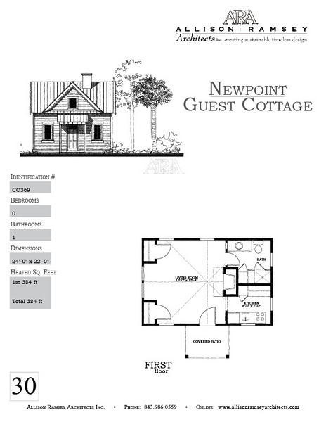 The Newpoint Guest Cottage by Allison Ramsey Architects is 384 Heated Square Feet and has 1 Bathroom. Carolina Inspirations, Book II, Page 30, C0369.