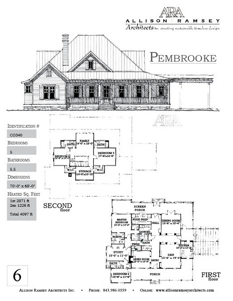 The Pembrooke Plan is 4097 Heated Square Feet, 5 Bedrooms and 5.5 Bathrooms. Carolina Inspirations, Book II, Page 6, C0340.
