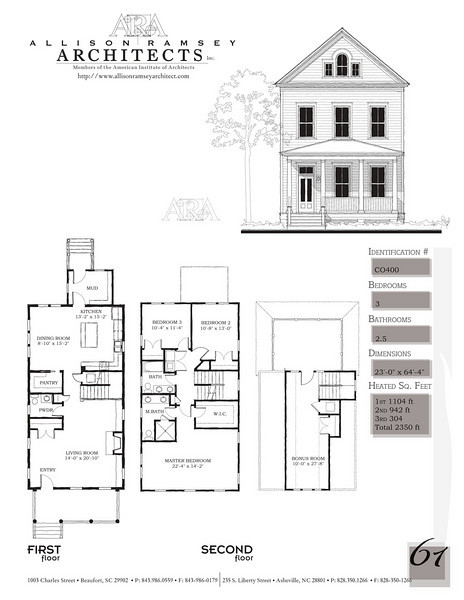 This plan is 2353 Heated Square Feet, 3 Bedrooms and 2 1/2 Bathrooms. Carolina Inspirations, Book II, Page 61, C0400.