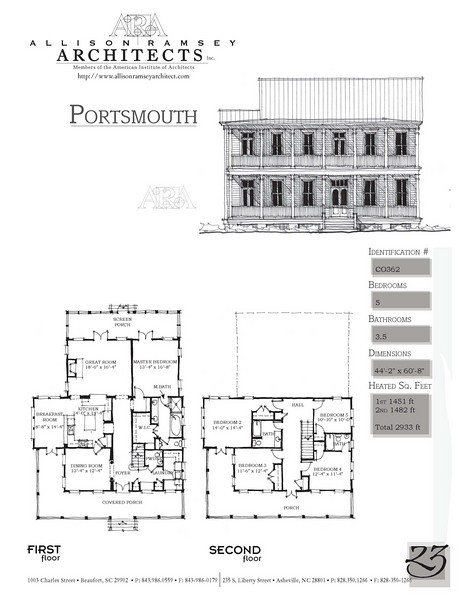 This plan is 2933 Heated Square Feet, 5 Bedrooms & 3 1/2 Bathrooms. Carolina Inspirations Book II, Page 23. C0362.