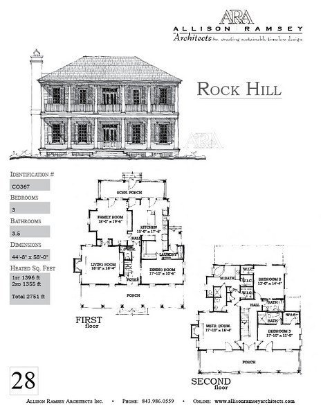 The Rock Hill Plan is 2751 Heated Square Feet, 3 Bedrooms and 3.5 Bathrooms. Carolina Inspirations, Book II, Page 28, C0367.