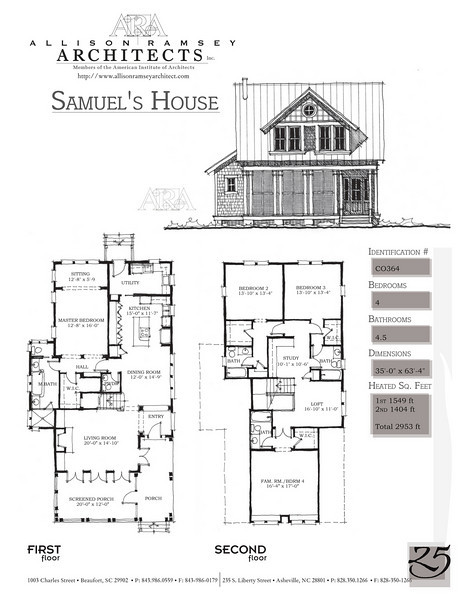 This plan is 2953 Heated Square Feet, 4 Bedrooms and 4 1/2 Bathrooms. Carolina Inspirations Book II, Page 25, C0364.