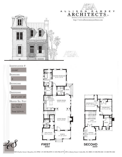This plan is 2274 Heated Square Feet, 3 Bedrooms and 3 Bathrooms. Carolina Inspirations, Book II, Page 48, C0387.