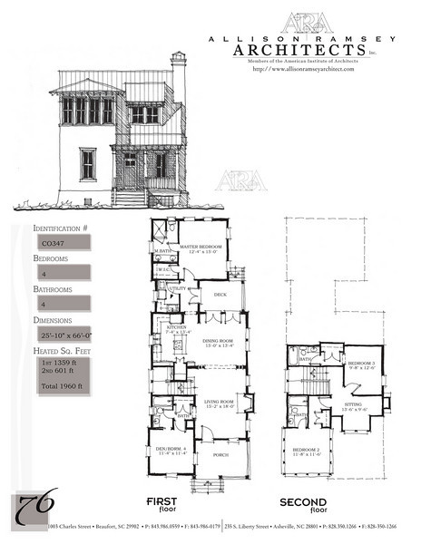 This plan is 1960 Heated Square Feet, 4 Bedrooms and 4 Bathrooms. Carolina Inspirations, Book II, Page 76, C0347.