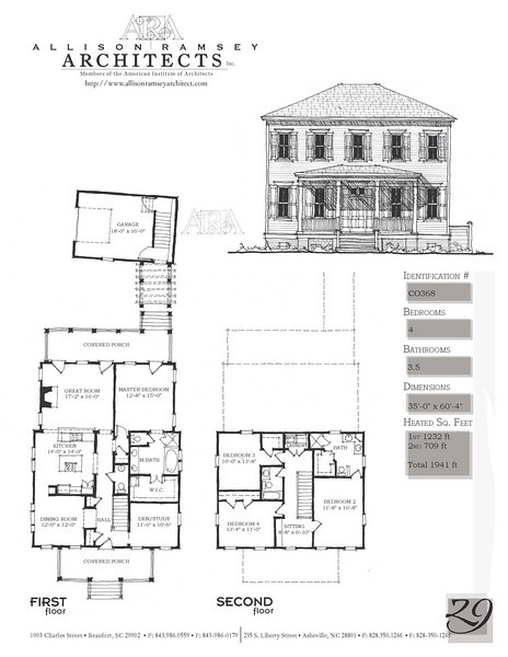 The Arrington Plan is 2446 Heated Square Feet, 4 Bedrooms and 3 1/2 Bathrooms. Carolina Inspirations, Book II, Page 29, C0368.