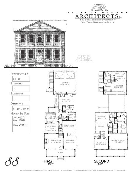 This plan is 2934 Heated Square Feet, 4 Bedrooms and 4 Bathrooms. Carolina Inspirations, Book II, Page 88, C0420.