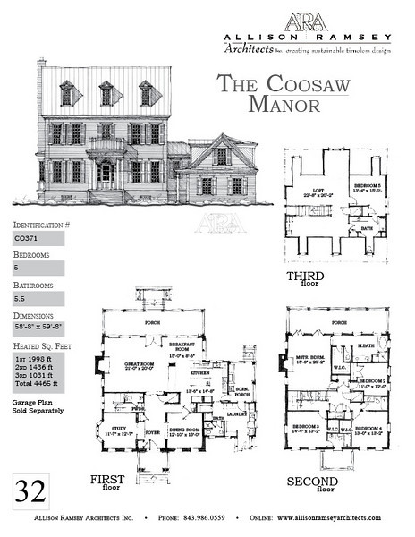 This plan is 4465 Heated Square Feet, 5 Bedrooms and 5 1/2 Bathrooms. Carolina Inspirations, Book II, Page 32, C0371.