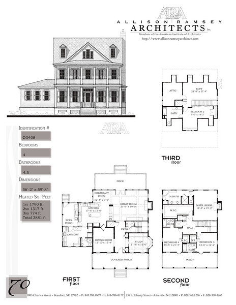 This plan is 3881 Heated Square Feet, 4 Bedrooms and 4 1/2 Bathrooms. Carolina Inspirations, Book II, Page 70, C0408.