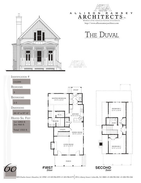 This plan is 1553 Heated Square Feet, 3 Bedrooms and 2 1/2 Bathrooms. Carolina Inspirations, Book II, Page 60, C0399.