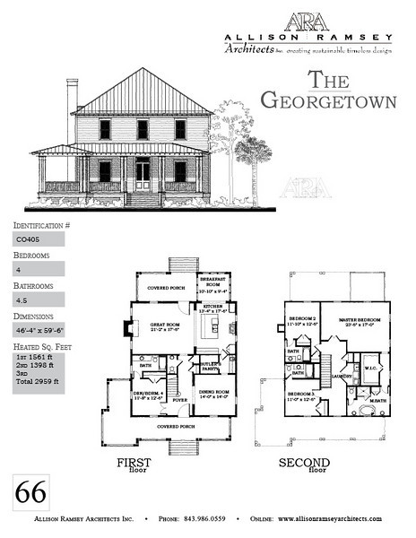 The Georgetown Plan by Allison Ramsey Architects is 2959 Heated Square Feet, 4 Bedrooms and 4 1/2 Bathrooms. Carolina Inspirations, Book II, Page 66, C0405.