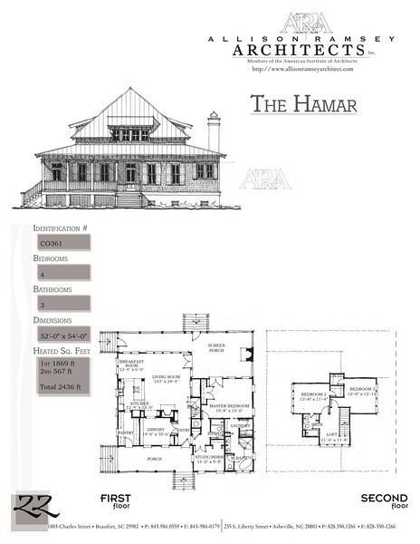 This plan is 2436 Heated Square Feet, 4 Bedrooms and 3 Bathrooms. Carolina Inspirations, Book II, Page 22, C0361.