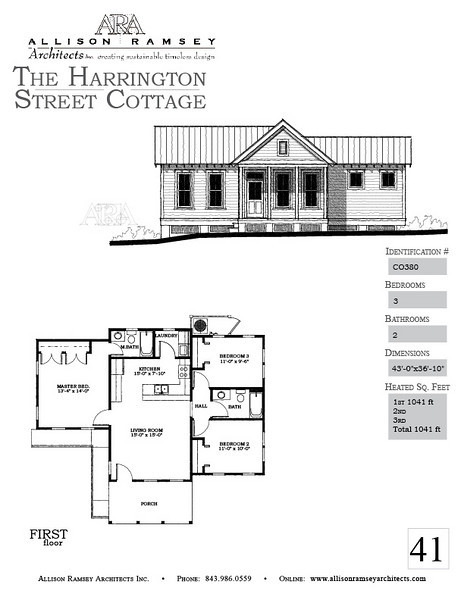 The Harrington Street Cottage Plan is 1041 Heated Square Feet, 3 Bedrooms and 2 Bathrooms. Carolina Inspirations, Book II, Page 41, C0380.