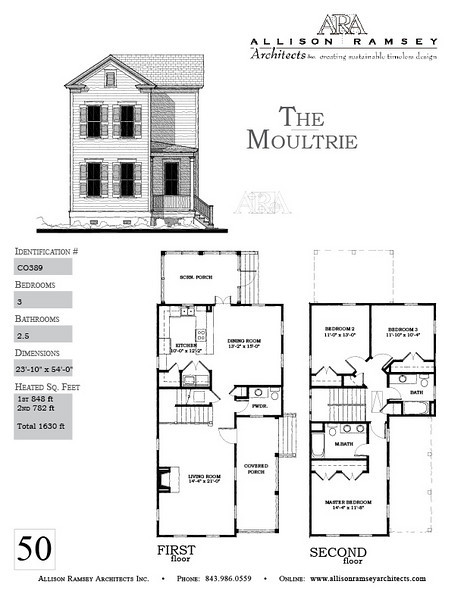 The Moultrie Plan by Allison Ramsey Architects is 1630 Heated Square Feet, 3 Bedrooms and 2 1/2 Bathrooms. Carolina Inspirations, Book II, Page 50, C0389.