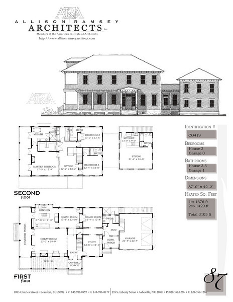 This plan is 3105 Heated Square Feet, 3 Bedrooms and 3 1/2 Bathrooms. Carolina Inspirations, Book II, Page 85, C0419.