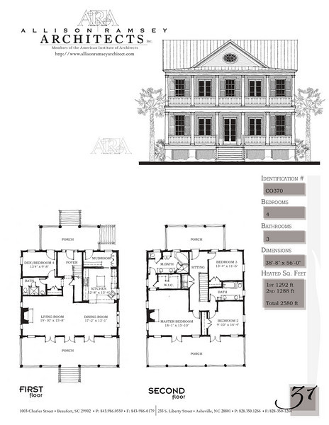 This plan is 2580 Heated Square Feet, 4 Bedrooms and 3 Bathrooms. Carolina Inspirations, Book II, Page 31, C0370.