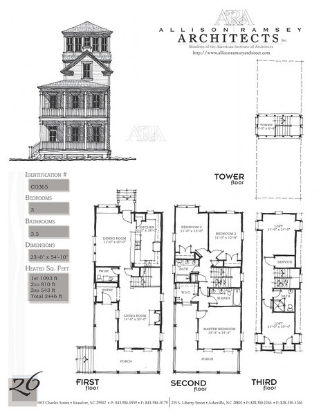 This plan is 2446 Heated Square Feet, 3 Bedrooms and 3 1/2 Bathrooms. Carolina Inspirations Book II, Page 26, C0365.