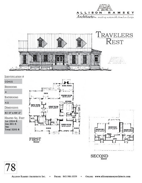 The Travelers Rest Plan by Allison Ramsey Architects is 3205 Heated Square Feet, 4 Bedrooms and 4 1/2 Bathrooms. Carolina Inspirations, Book II, Page 78, C0415.