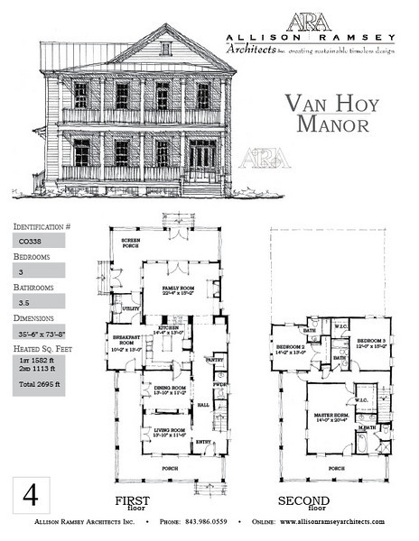 The Van Hoy Manor is 2695 Heated Square Feet, 3 Bedrooms and 3.5 Bathrooms. Carolina Inspirations, Book II, Page 4, C0338.