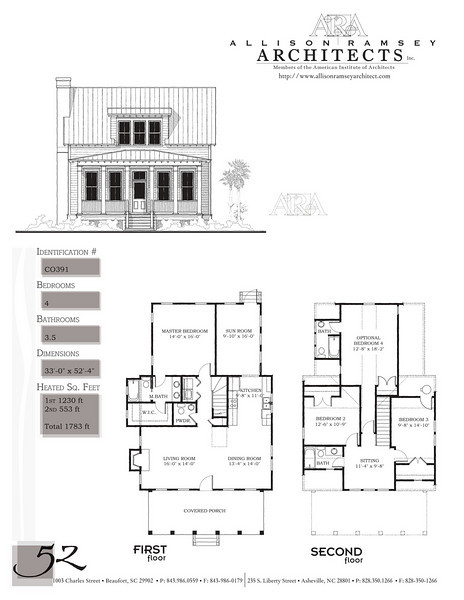 This plan is 1783 Heated Square Feet, 3 Bedrooms and 2 1/2 Bathrooms. There is an optional 4th bedroom and full bath that adds 355 Heated Square Feet. Carolina Inspirations, Book II, Page 52, C0391.