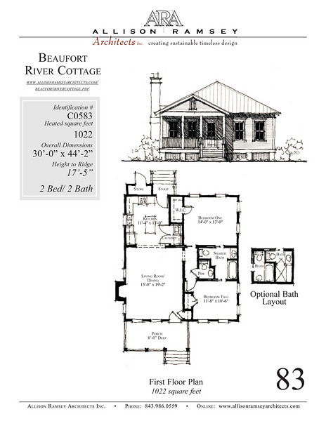 This plan is 1022 Heated Square Feet, 2 Bedrooms & 2 Bathrooms.