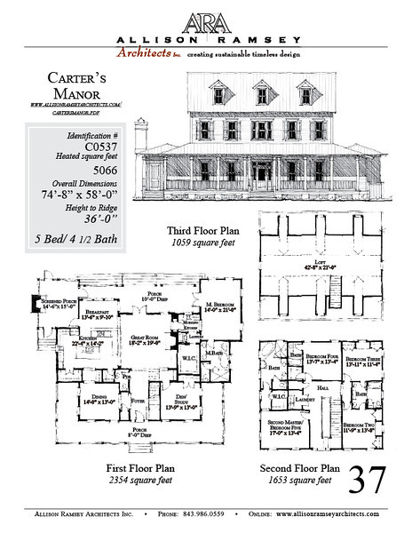 This plan is 5066 Heated Square Feet, 5 Bedrooms and 4 1/2 Bathrooms. Carolina Inspirations, Book III, Page 37, #C0537.